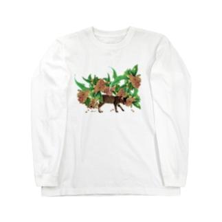 monet/猫と金木犀 Long sleeve T-shirts