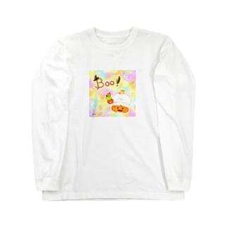 《ハロウィン》06*かぼちゃパンツのしろくま*パステル背景ver. Long sleeve T-shirts