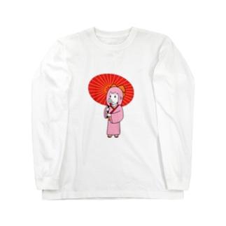 お豚(とん)さん、和傘をさす。 Long sleeve T-shirts