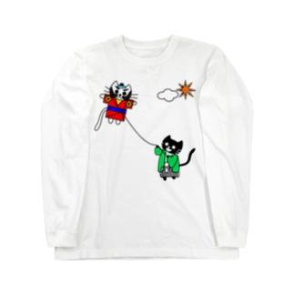 たまとクロの凧揚げ Long sleeve T-shirts