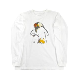 皇帝ペンギンとコーギー Long sleeve T-shirts