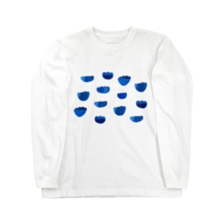 indigo blue flowers Long sleeve T-shirts