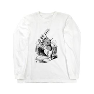 Mad Hatter's Shopの不思議の国のアリス 白ウサギ Long sleeve T-shirts