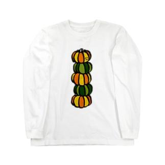 ハロウィンかぼちゃのトーテムポール Long sleeve T-shirts