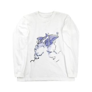 空を泳ぐくじらくん Long sleeve T-shirts