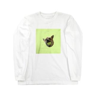 ボールくわえ犬 Long sleeve T-shirts