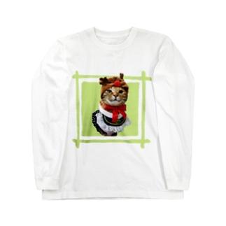 猫プリンちゃんクリスマスver Long sleeve T-shirts