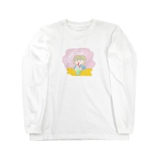クリームソーダ飲み子ちゃん🍨 Long sleeve T-shirts