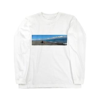 海を眺める波平グラフィック Long sleeve T-shirts