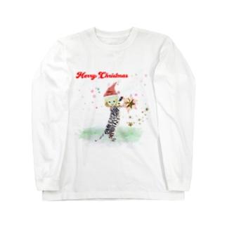 メリークリスマス ちびねこ Long sleeve T-shirts