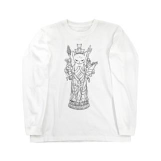 ジェリーゼリーショップ in SUZURIの千手観音猫 Long sleeve T-shirts