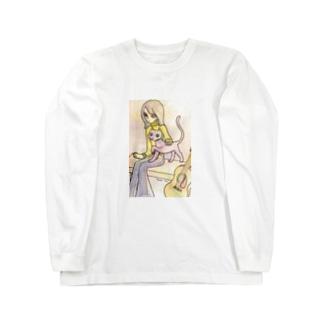 レトロな女の子 ギターと猫 Long sleeve T-shirts