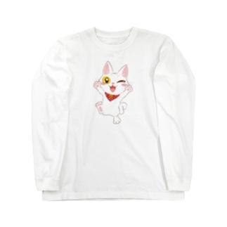 nozomiコラボ白子猫 Long sleeve T-shirts