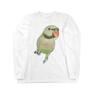 まめるりはことりのご機嫌なダルマインコちゃん【まめるりはことり】 Long sleeve T-shirts