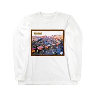 モロッコ:マラケシュのジャマ・エル・フナ市場 Morocco: Jemaa el-Fnaa of Marrakesh Long sleeve T-shirts