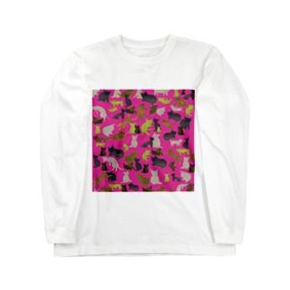 wamiの猫迷彩ピンク Long sleeve T-shirts