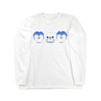 ビオラ&セキセイインコ Long sleeve T-shirts