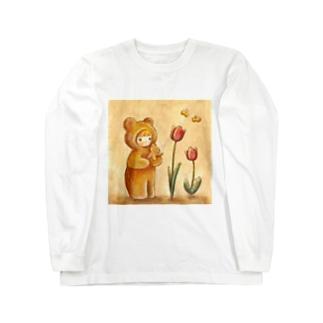 クマちゃんとチューリップ Long sleeve T-shirts