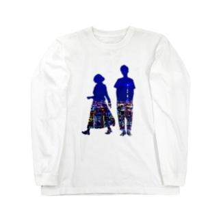 男女シルエット(夜景) Long sleeve T-shirts
