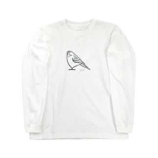 セキセイインコさん(モノトーン) Long sleeve T-shirts