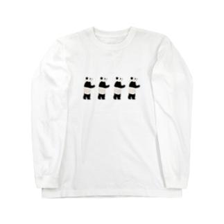 パンダ一列 Long sleeve T-shirts