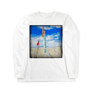 キンシコウは雲に乗ろうとする Long sleeve T-shirts