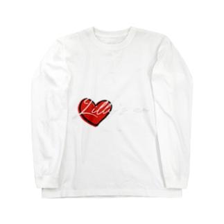 ハート黒縁 Long sleeve T-shirts