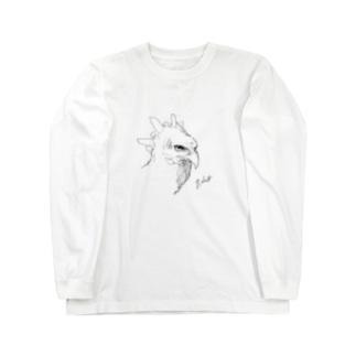 カンムリクマタカのクロッキー Long sleeve T-shirts
