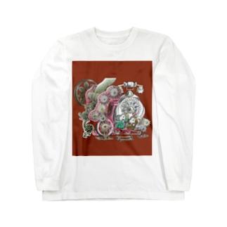 福くるくるサイクル仕掛けまんまちょん〈赤〉 Long sleeve T-shirts