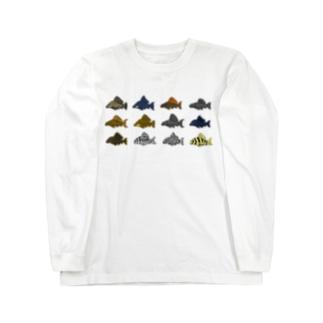 ドット絵怪魚 プレコ Long sleeve T-shirts