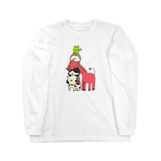牧場のトーテムポール(背景なし) Long sleeve T-shirts