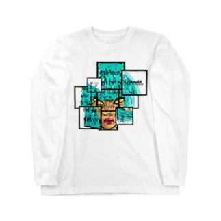 青髪デザイン Long sleeve T-shirts