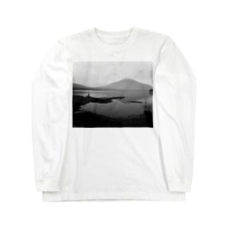 富士山とおじさん Long sleeve T-shirts