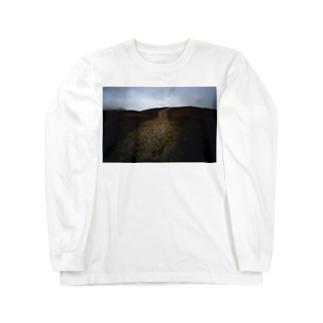 阿蘇山と足跡Tシャツ Long sleeve T-shirts