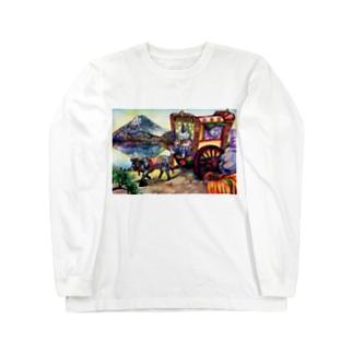 猫と和と牛車と富士山 Long sleeve T-shirts