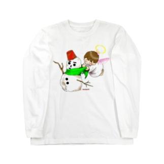 雪だるまと仲良し天使ちゃん Long sleeve T-shirts