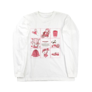 (淡色)レトロ柄 Long sleeve T-shirts