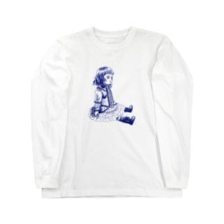 おすわりブリュ デルフトブルー Long sleeve T-shirts