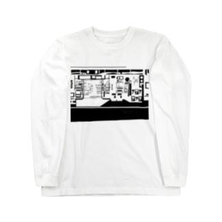 出口瀬々のコンビニ柄【黒】 Long sleeve T-shirts