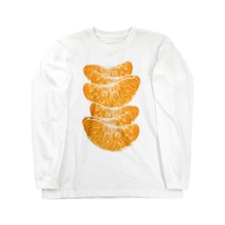 みかんがいっぱい!面白おかしい果物グッズ Long sleeve T-shirts