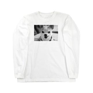 モノクロチワワ(ぺろんちょ) Long sleeve T-shirts