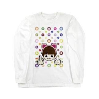 MIMMIのモノグラム (ミンクロの(ミンクロのT-シャツ)) Long sleeve T-shirts
