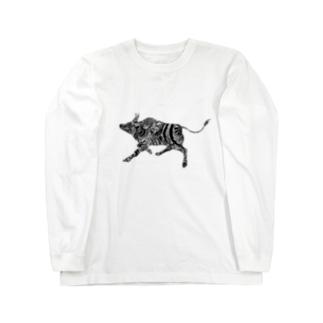 ぺんしるあーと:うし Long sleeve T-shirts