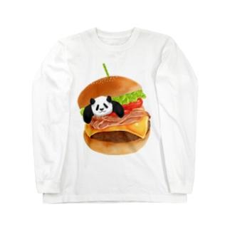 パンダとハンバーガー Long sleeve T-shirts