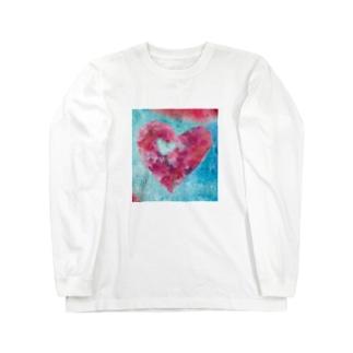 wamiの水色と赤のハート Long sleeve T-shirts