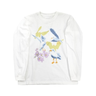 ユリカモメと桜と Long sleeve T-shirts