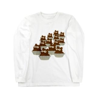 たぬきケーキいっぱい Long sleeve T-shirts