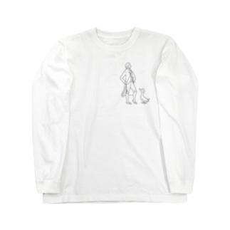 音楽家とカンムリアヒル(ひかえめ)) Long sleeve T-shirts