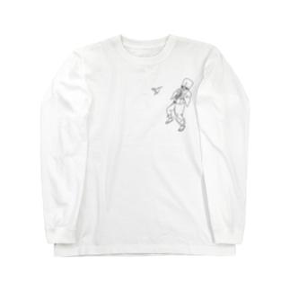 荒ぶる虚無僧とハチドリ(ひかえめ) Long sleeve T-shirts