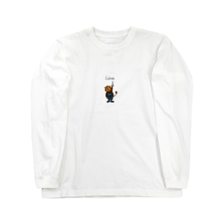 new つり革 ライオン 背景グレー Long sleeve T-shirts